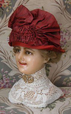Edwardian c1912 Copper Silk Velvet Toque Gibson Girl Bucket Hat Asymmetrical | eBay
