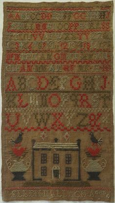 EARLY 19TH CENTURY HOUSE & ALPHABET SAMPLER BY ELLEN MALLACH AGED 6 c.1820-30