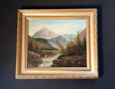 Der Kunst Blog: Antik Ölgemälde: Romantischer alpiner Bachlauf mit...