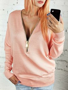 V-Neck Long Sleeve Zippered Loose-Fitting Women's Sweatshirt