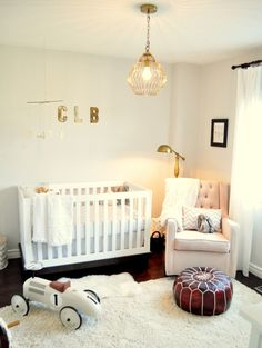 Rustic and Modern Nursery - love the brass lamp and accents!