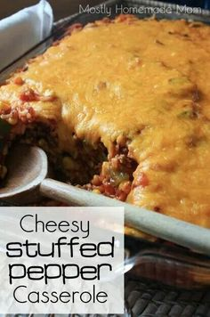 Cheesy stuffed pepper soup casserole