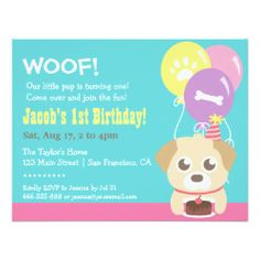 "Cute Puppy Dog and Balloons Birthday Party 4.25"" X 5.5"" Invitation Card"