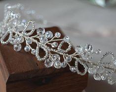 Hair tiara Freshwater Hair tiara Crystal headband Wedding | Etsy