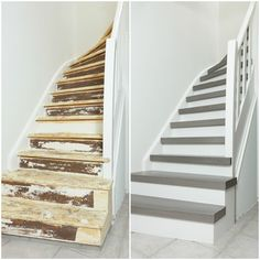 Traprenovatie – Gebroeders Janssen - Lilly is Love Open Trap, Staircase Storage, Wooden Stairs, Industrial Interiors, House Stairs, Under Stairs, Home Reno, Woodworking Projects Plans, Stairways