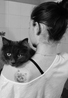 #tattoo girl #cat
