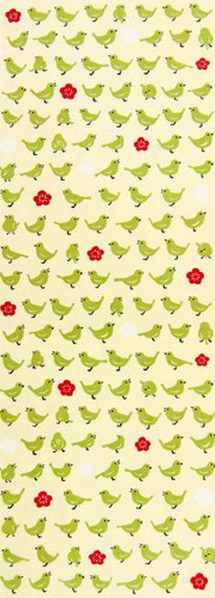 Japanese Tenugui cotton towel fabric. Bird pattern / green bush warbler + vernal flower design. High quality tenugui fabrics made of soft 100% cotton cloth and hand dyed by Japanese master dyers. [ H o w T o U s e ] * towel * washcloth * dishcloth * headband / bandanna * scarf *