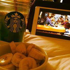 #goodmorning #beautiful #saturday #breakfast #banana #peanutbutter #homemade #starbucks #caramelmacchiato watching #babydaddy #weekend #Padgram