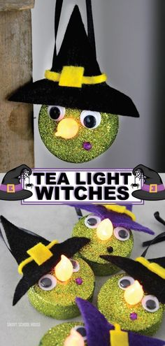These tea light witches are so cute and easy to make. This is a great craft idea that your kids can do to get them excited for the fun of Halloween. They will love making their own witches with glowing noses. Make this fun craft for fun decorations or to give away as a Halloween DIY gift. You can never have too many of these cute little tea light witches. Enjoy crafting this cute witch DIY for some Halloween fun. #decoration #halloween #diy #craft #kidcrafts
