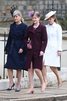 The Countess of Wessex and her daughter Lady Louise arriving with Princess Beatrice. Lady Louise is growing up and looking the part Princess Beatrice, Royal Princess, Princess Diana, Princess Eugenie, Duchess Of York, Duke And Duchess, Duchess Of Cambridge, Duchess Kate, Sophie Rhys Jones