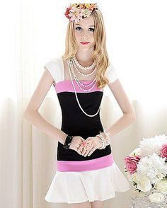 Comfortable Black and White Fashion elegent lady's Pink Casual Dresses