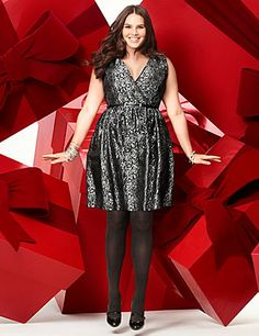 Brightening your season with shimmering brocade, our curve-loving surplice dress is a stunning choice for your next event! Sexy V-neckline and elastic waist accentuate all your positives, with a skinny belt to add flattering waist definition. Fully lined.  lanebryant.com