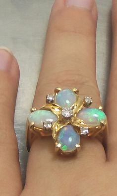 Beautiful Vintage 14K Solid Yellow Gold 4 Fire Opal, 5 Diamond Ring-Size 6 #Unbranded #Cocktail #opalsaustralia