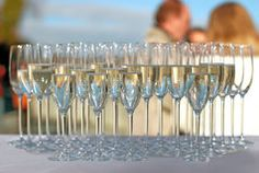 Filled champagne glasses on a cocktail party Royalty Free Stock Photo