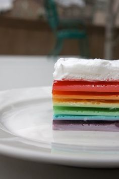 rainbow jell-o: make directly in glasses. Can also use cool whip or vanilla yoghurt instead of sour cream.
