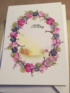 one layer . wreath created with multi-stamping of small peg stamp elements . leaves ,,, luv the small scene created inside the wreath . Cardio Cards, Card Io, Paper Hearts, Handmade Birthday Cards, Pretty Cards, Watercolor Cards, Flower Cards, Homemade Cards, Making Ideas