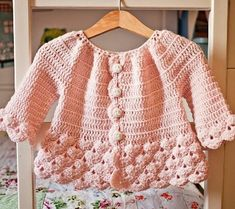 Crochet PATTERN - Cherry Blossom Cardigan (sizes toddler up to 8 years), Spring is here and it is time to update our wardrobes and wardrobes of ourRavelry: Cherry Blossom Cardigan pattern by Mon Petit ViolonNew pattern is here! It is a Cherry Blossom Baby Cardigan, Poncho Pullover, Toddler Cardigan, Cardigan Bebe, Crochet Baby Sweaters, Sleeveless Cardigan, Crochet Cardigan Pattern, Crochet Baby Clothes, Baby Knitting