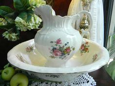 This gorgeous Maryleigh Pottery pitcher and bowl with the lovely floral design is in wonderful condition. Full sized and fully functional. No chips, cracks or flea bites. Gold trim is in excellent condition. Please see all the pictures of this beautiful set. The bowl measures 15 1/2 in diameter and 4 5/16 high. The pitcher measures 10 1/4 tall. The bottom of each piece is marked: Maryleigh Pottery (C) Handcrafted in Staffordshire England. Stunning! Shipping weight is 9 lbs without packi...