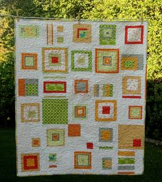 Beautiful random quilt with great use of solids, by Jules!