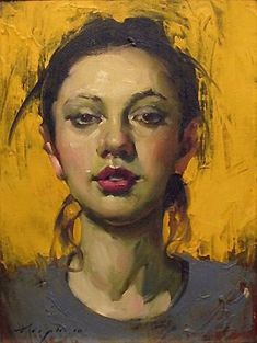 Malcolm T. Liepke (b. 1953), oil on canvas {figurative #impressionist art beautiful female head woman face portrait painting #loveart}