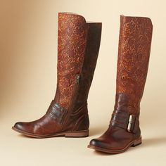 KAYLEY RIDING BOOTS BY LUCCHESE--Leafy tooling crawls up the front of these burnished leather boots.    Seriously!!!  <3 <4