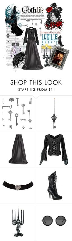 """Indulge Your Dark Side with Crimson Peak : Contest Entry"" by ultracake ❤ liked on Polyvore featuring Brewster Home Fashions, Eleanor Stuart, Lucille, Carmen Marc Valvo, The Row, vintage and CrimsonPeak"