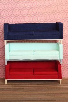 Modern Miniature Red Pop Sofa (Clean Modern Style). tinymodern, via Etsy.