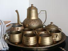 vintage korean brass tea set