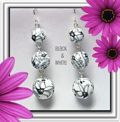 Black & White Graphic Floral Earrings....great for Spring