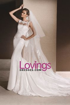 2017 New Arrival Wedding Dresses Scoop Satin With Applique Mermaid