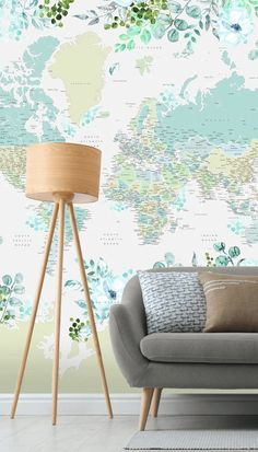 Love to travel? Passionate about show-stopping design? Then you need to see this beautiful Floral Antarctica World Map mural designed by Rosana Laiz Garcia! Perfect for a travel enthusiast's living room, inspirational home office and stunning bedroom. #bluewallpaper #worldmapwallpaper #livingroomideas World Map Mural, World Map Wallpaper, Room Wallpaper, Detailed World Map, Blue Wallpapers, Antarctica, Peel And Stick Wallpaper, Wall Ideas, Designer Wallpaper