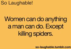 Women can do anything a man can do. Except killing spiders