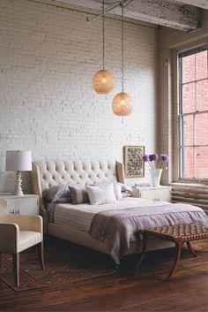 White brick wall bedroom - Model Home Interior Design Home Bedroom, Bedroom Decor, Brick Bedroom, Master Bedroom, Bedroom Ideas, Urban Bedroom, Design Bedroom, Girls Bedroom, Bedroom Inspiration