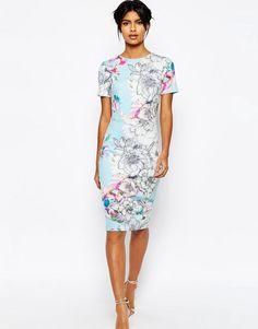 Bild 1 von ASOS – Figurbetontes, mittellanges T-Shirt-Kleid aus Neopren mit Blumenmuster