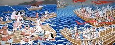 The Genpei Wars (1180-85) was a five-year long war between the Minamoto and the Taira, concluding with a decisive victory of the Minamoto clan fleet, led by Minamoto no Yoshitsune in the mayor naval battle of Dannoura in the Shimonoseki Strait. It resulted in the fall of the Taira family, the rise of the Minamoto and the establishment of the military government by Minamoto no Yoritomo in Kamakura in 1192. Six-year old Emperor Antoku and his grandmother threw themselves over board.