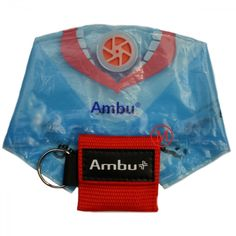 """Ambu Res-Cue Key CPR Mask with Mini Keychain Pouch: Branded with the Ambu logo, this 2"""" x 2"""" ultra-compact, easy to use CPR Res-Cue Key features a CPR face shield with a one-way valve that prevents contamination of the outer surface of the mask. The woven nylon pouch has a standard key ring hook so you can easily take it with you - on a keychain, belt, or on a lanyard."""