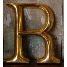 Gilt wood letter R, found on Polyvore