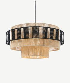 Lovato hanglamp lampenkap, naturel en zwart raffia | MADE.com Lamp Light, Light Bulb, Quiz Design, Luminaire Design, Budget Fashion, Lamp Shades, Home Lighting, Minimalist Bedroom, Instagram Shop