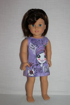 18 inch doll clothes, tropical girl graphic print tank dress , purple sleeveless doll dress, Upbeat Petites by UpbeatPetites on Etsy