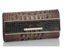 Brahmin Soft Checkbook Nutmeg Caron Genuine Trifold Leather Wallet NWT msrp $195