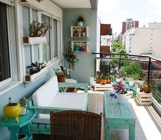 VP en tu casa: Vero Palazzo - Home Deco Outdoor Spaces, Outdoor Living, Outdoor Decor, Balcony Design, Balcony Ideas, Decoration Table, Porch Decorating, Apartment Living, Apartment Walls