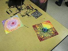 printmaking over colored background