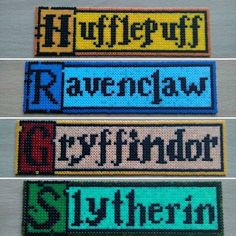 Harry Potter House Name Large Bookmarks hama mini beads by pixelbeadpictures Perler Bead Designs, Hama Beads Design, Pearler Bead Patterns, Perler Bead Art, Perler Patterns, Cross Stitch Harry Potter, Harry Potter Crochet, Harry Potter Diy, Cross Stitch Bookmarks