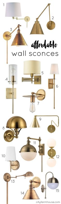 Stylish and affordable aged brass wall sconces