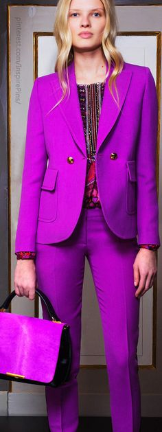 Pre-Fall 2014 Emilio Pucci.                  Love this suit, very beautiful color for blond ladies, makes you look younger...