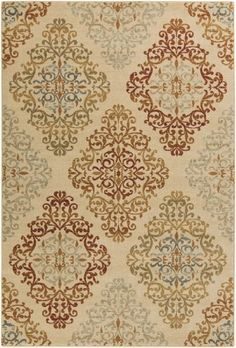 7.85' x 9.85' Brocade Diamonds Beige, Burnt Orange and Green Shed-Free Area Throw Rug Diva At Home
