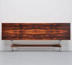 Rudolph Bernd Glatzel; Rosewood and Brushed Steel Sideboard for Fristho, 1960s.