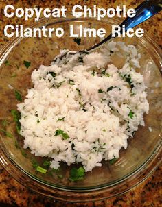 One Day at a Time: Copycat Chipotle corn salsa and cilantro lime rice recipes Side Recipes, Great Recipes, Favorite Recipes, Corn Recipes, Yummy Recipes, I Love Food, Good Food, Yummy Food, Healthy Snacks