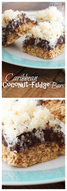 These Caribbean Coconut Fudge Bars can't be beat! A soft oatmeal cookie crust with chocolate fudge and gooey coconut topping- an instant favorite! via @favfamilyrecipz #cookiebarrecipescoconut