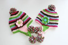 Twin hats for children toddlers winter set of two crochet pom pom beanies custom pink brown green blue. $38.00, via Etsy.